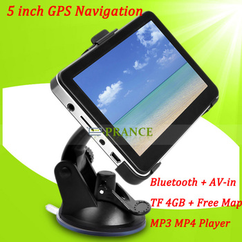HD 5 inch Car GPS Navigation Vehicle Navigator WIN CE 6.0+ Bluetooth + AV-IN + FM + 468MHz + Free 4GB Card + MTK 3351 468MHz