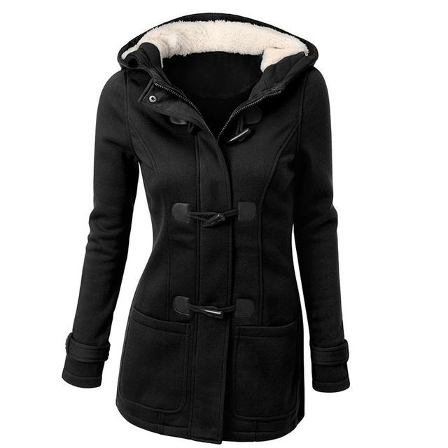Новый осень зима женщины шерстяное пальто 2016 мода тонкий вскользь женщины пальто casaco с капюшоном Рог Кнопку 2XL теплая шерсть куртки, LB2556