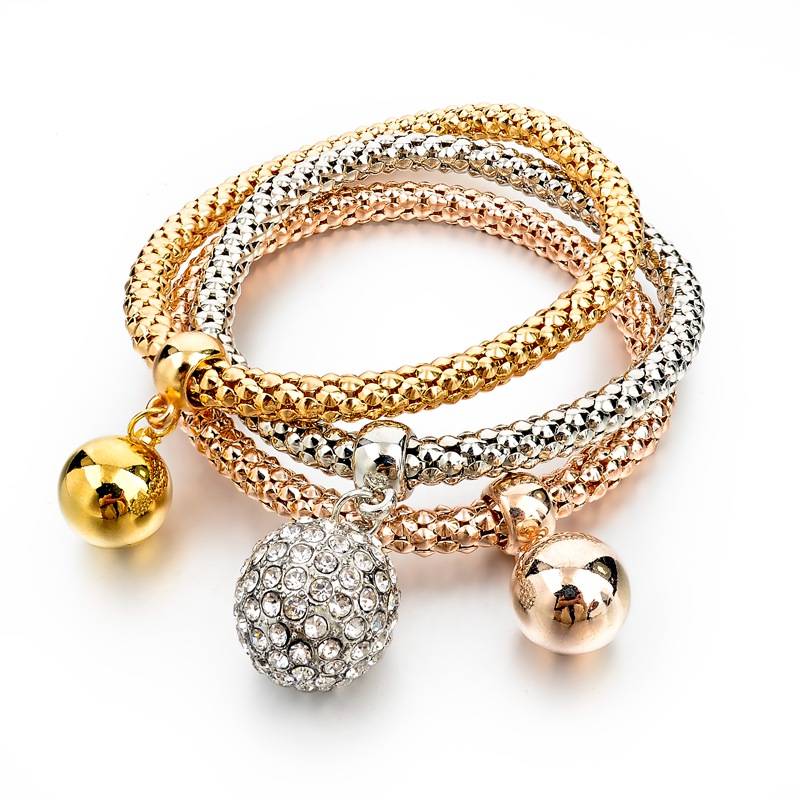 Gold-Silver Plated Bracelets with Cristal and Golden Balls Charmes