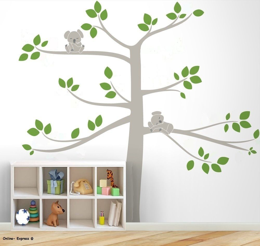 L21 free shipping Koala Bear Large Tree Sleeping DIY Nursery Wall Art Stickers home decor Kids Children room Bedroom(China (Mainland))