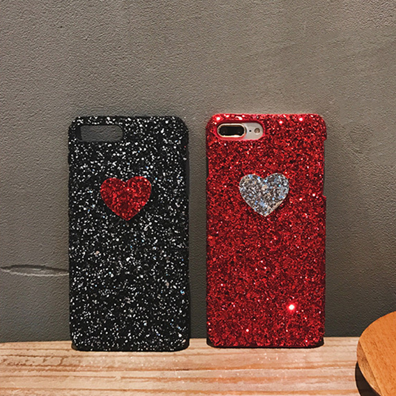 Lovely Hearts Bling Glitter Powders Cases iPhone 6 6S 6plus 6Splus 7 7plus hard Sequins Hard Case Funda Capa Coque