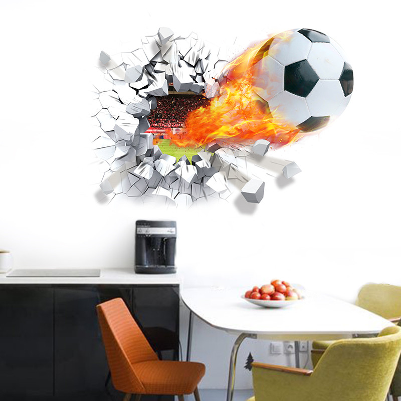 Football soccer ball broken wall stickers tv background for Bedroom 3d wall stickers