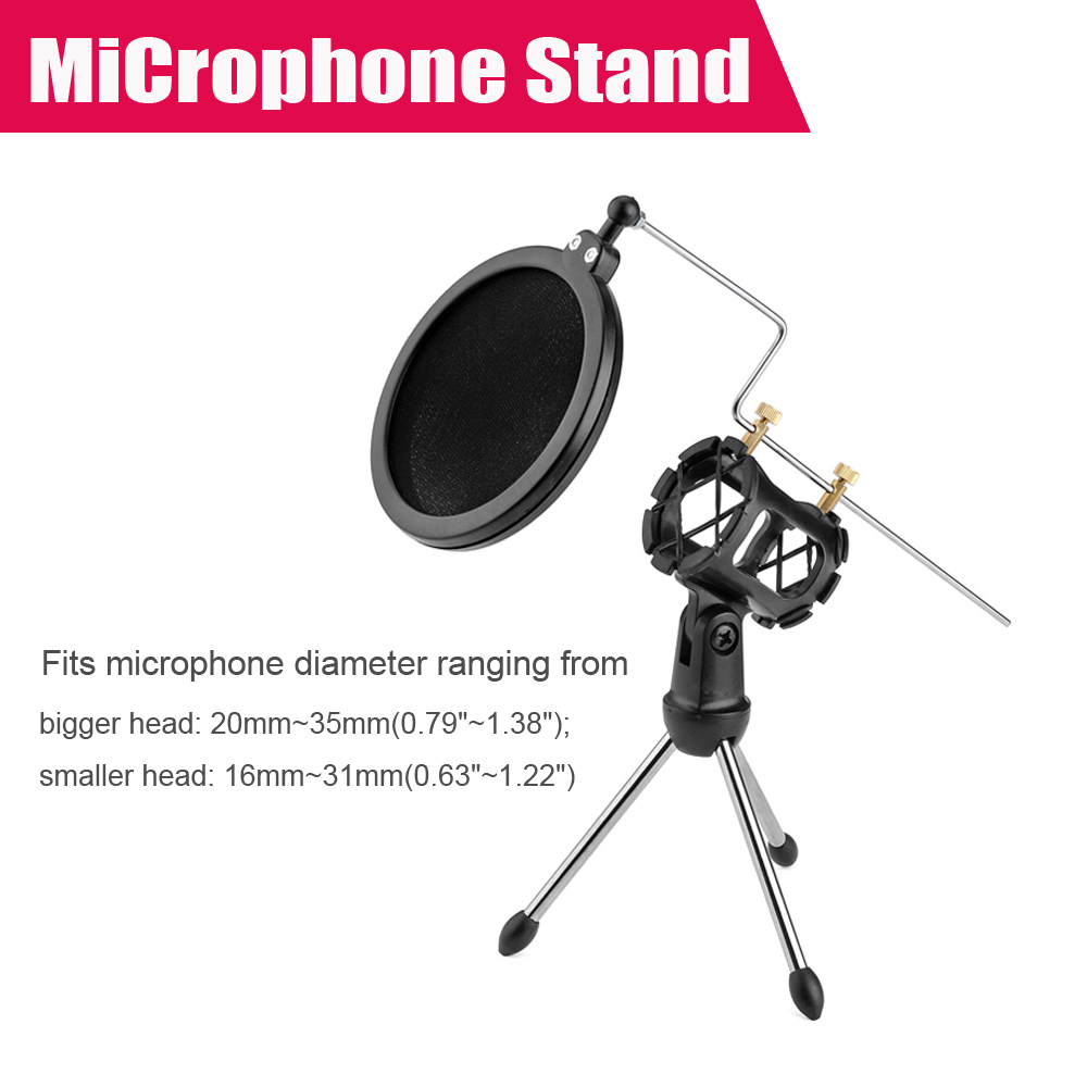 Adjustable Studio Condenser Microphone Stand Desktop Tripod for Microphone with Windscreen Filter Cover P0022784(China (Mainland))