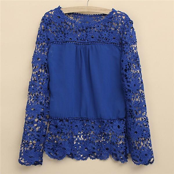 Женские блузки и Рубашки Brand new 9 s/5xl 2015 Chiffion Blusas Femininas Chiffon lace blouse
