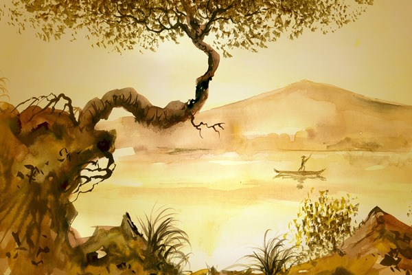 junk man tree grass <font><b>asian</b></font> lake painting mood 4 Sizes <font><b>Home</b></font> <font><b>Decoration</b></font> Canvas Poster Print