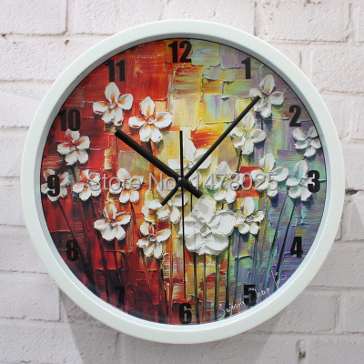 Free shipping 1021 oil painting style home decoration wall clock(China (Mainland))