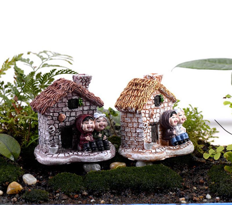 2pcs Cottages House Figurine Nain De Jardin Terrarium Figurines Fairy Miniature Garden Gnome
