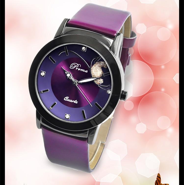 Relogio feminino watches women fashion luxury quartz watch vintage leather strap PREMA purple red watches Ladies wristwatches(China (Mainland))