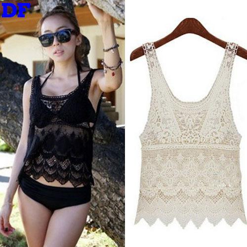 Lace Crochet Blusas Beach Blouse Women 2015 Hot Fashion Blusa Feminina Short Lace Women Tops Blouses Shirt Cheap Clothes China A