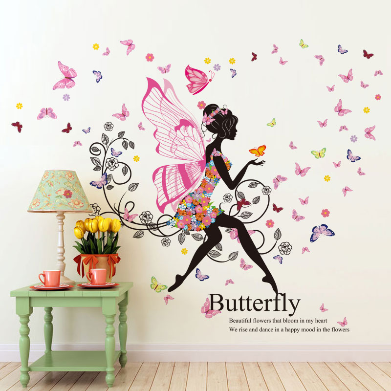 Creative butterfly wings girl baby room wall stickers children's room bedroom bedside TV sofa backdrop decorative stickers(China (Mainland))