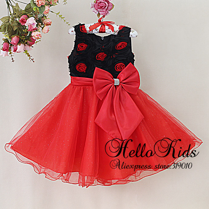 2014 New Kids Party Dress Girl Formal Dress Red Rose Flower Dress Children Princess Wedding Dress With Red Bow Kis Clothing(China (Mainland))