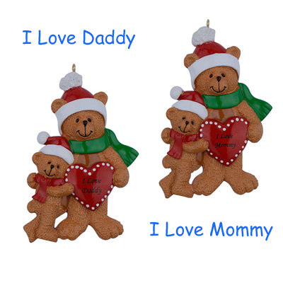 I Love Daddy Mommy Bear Family Of 2 Resin Hanging Personalized Christmas Ornaments For Holiday New Year Father Mother Day Gifts(China (Mainland))