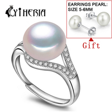 CYTHERIA 100% real freshwater pearl ring for women 925 sterling silver adjustable ring with  AAAA natural pearl jewelry