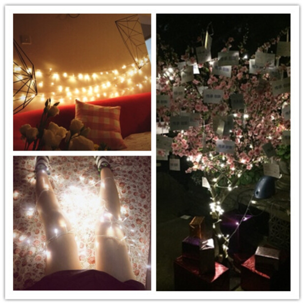 AA Battery Operated 33FT 10M 100 led Christmas Holiday Wedding Party Decoration Festi LED Copper Wire String Fairy Lights Lamps(China (Mainland))