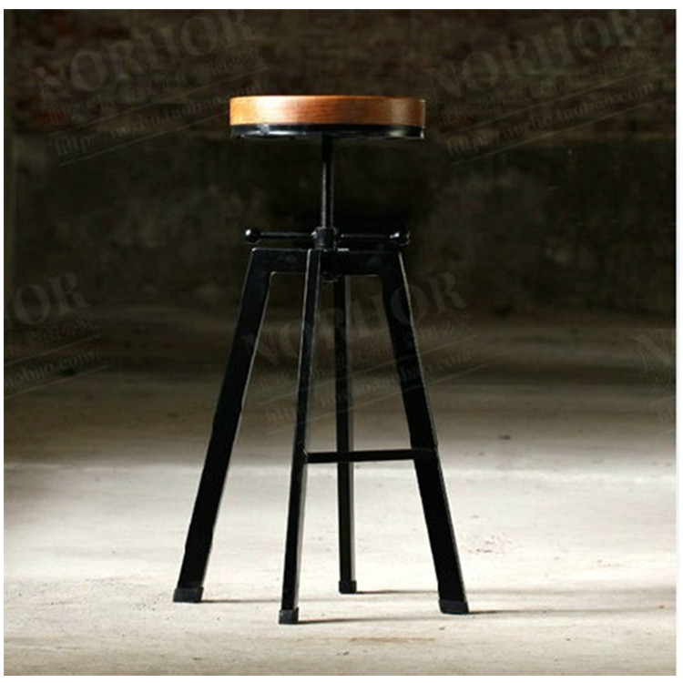 Laocoon American retro to do the old antique wrought iron bar chairs stool rotating lift<br><br>Aliexpress