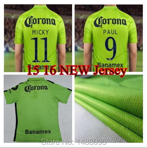 Soccer America jersey 15 16 3rd away green 2015 Mexico club M LAYUN RAUL SAMBU L G REAR JIMENEZ MICKY 2016 Football Shirts(China (Mainland))