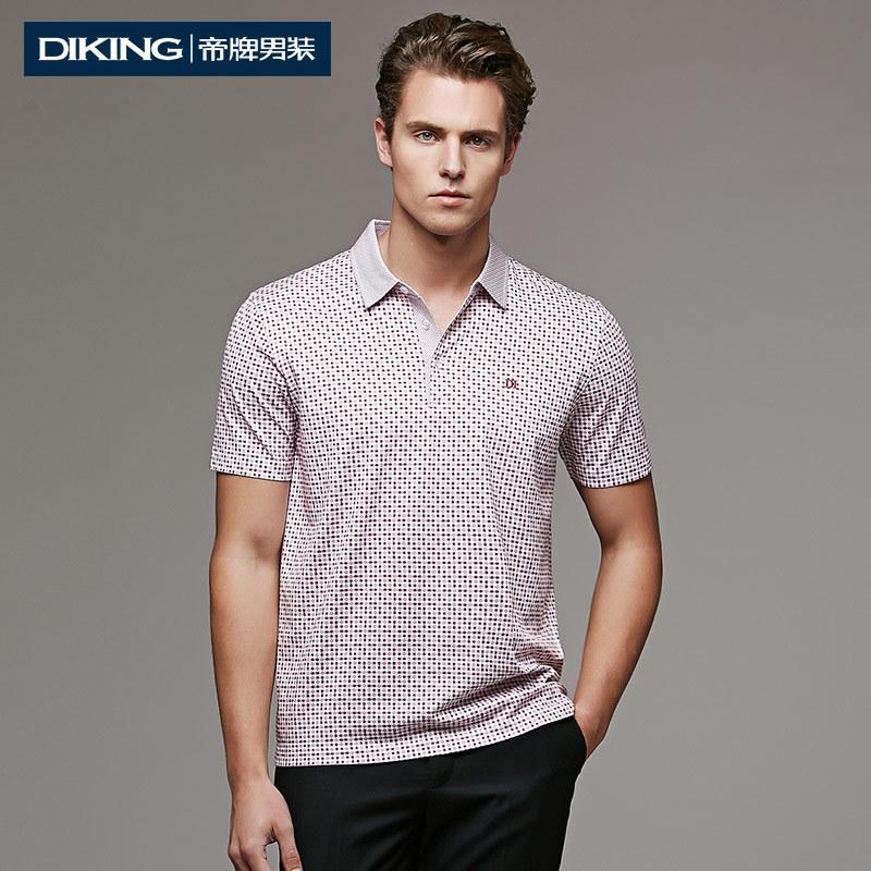 Summer 2015 New Fashion Top Quality Brand Design Short Sleeve Plaid Printing T Shirt Men Turn-down Collar Casual Slim Fit Tshirt(China (Mainland))