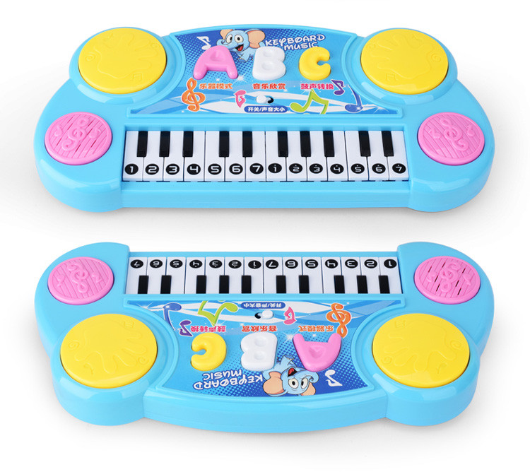 Doulbe function Charging cable hand beat drum Cartoon pattern Keyboard Electronic organ musical instrument toys game learning(China (Mainland))