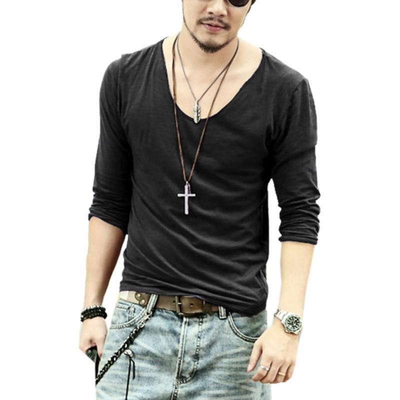 Buy 2015 men t shirt men casual leisure for Cotton long sleeve v neck t shirts