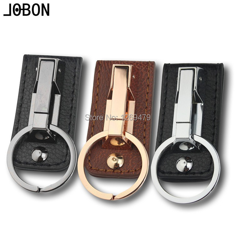 Free Shipping 2015 New Brand JOBON Men and wome Automobile Key chain Key rings Keychain Keyring Car Pendant cowhide 001(China (Mainland))