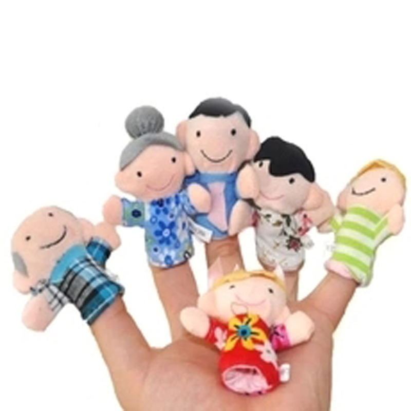 NEW 6pcs Family Style Velvet Finger Puppet Play Learn Story Toy Cute Cartoon Finger Puppets Free Shipping WJ305(China (Mainland))