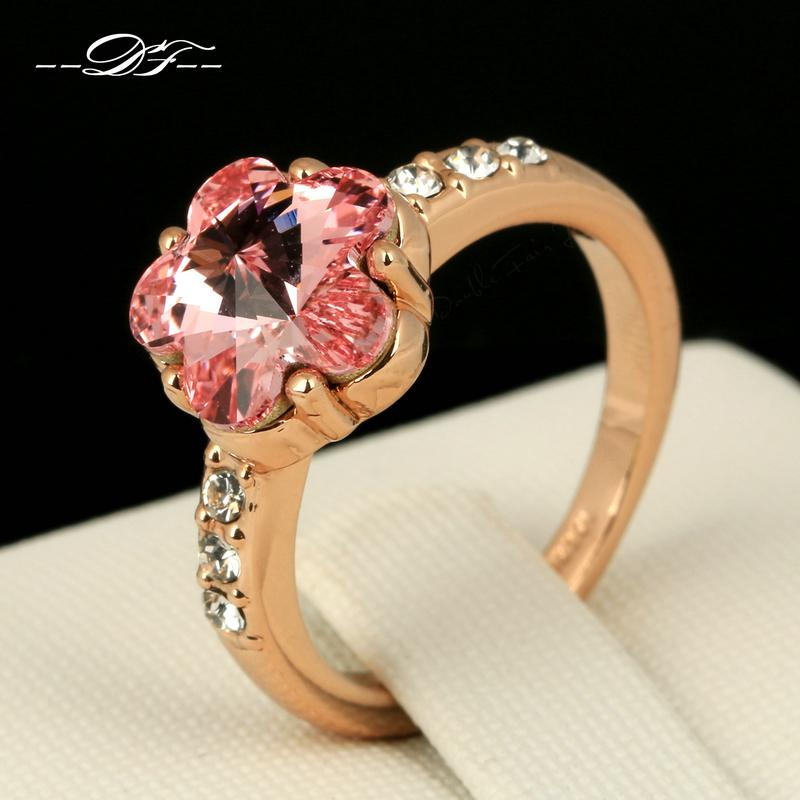 Hot Sale Pink Sakura Crystal Party Finger Rings 18K Rose Gold Plated CZ Diamond Wedding Jewelry For Women anel Wholesale DFR175(China (Mainland))