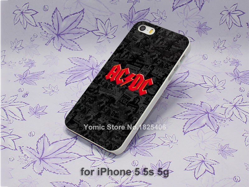 famous ac dc Back in Black Pattern hard White Skin Case Cover for iPhone 4 4s 4g 5 5s 5c 6 6s 6 Plus