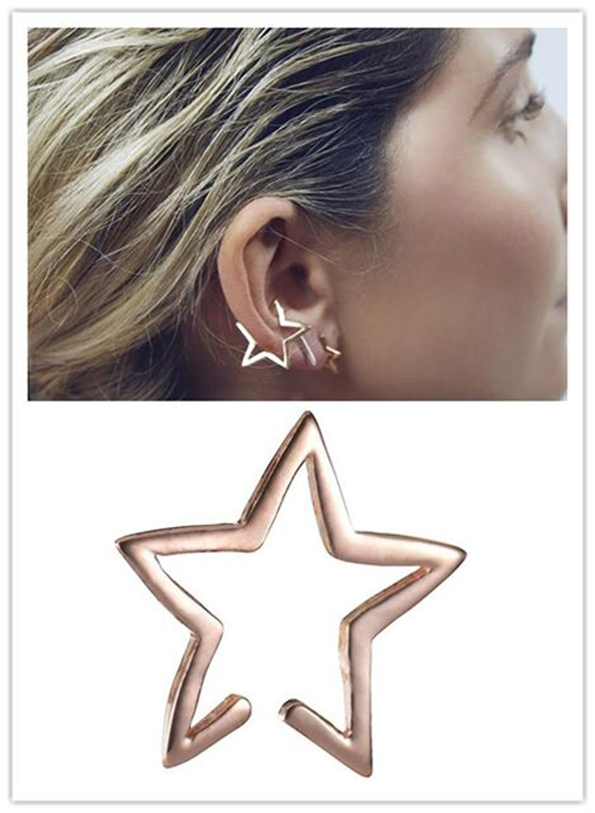 Elegant Lady Fashion Jewelry Gold Star Ear Clip Cuff Wrap Earring Hoop(China (Mainland))