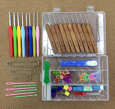 Crochet Stitches Kit : 2015 Hot Aluminum Crochet Hooks Needles Kit agulha de croche TPR ...