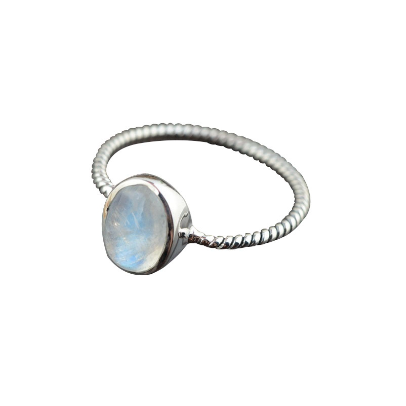 Quality Moonstone Silver Rings, Simple 925 Sterling Silver Rings, Women Blue Moon Stone Ring, Size 9 RH007(China (Mainland))