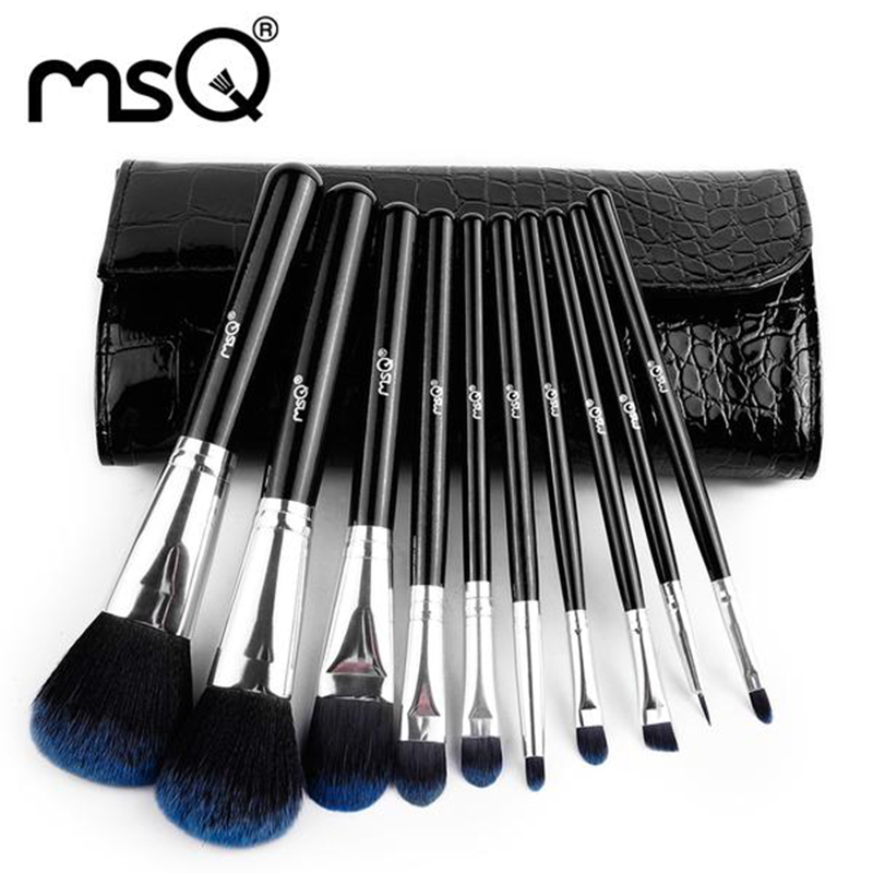 MSQ Professional 10 Pcs Cosmetics Tool Kit And Makeup Set With PU Leather Case<br><br>Aliexpress