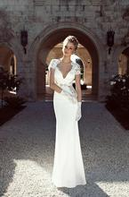 Sexy Short Sleeve Backless Wedding Dresses 2017 Sheath Bodies Floor Length White Applique Sweep Train Modest Formal Bridal Gowns(China (Mainland))