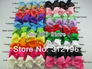 Free Shipping!40pcs/lot Baby Grosgrain Ribbon For Hair Bows WITHOUT Clips,3'' Hairbows For Girl Accessories(40 Colors Available)