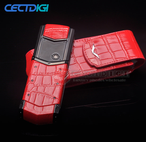 2016 New luxury phone UPDATED Red crocodile signature CEO 168 high end matte edition Stainless-Steel body and genuine leather(China (Mainland))