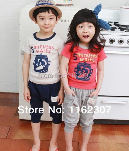 Free shipping summer boy clothes cheap price children bodysuits boy girl clothing set T shirt + pants(China (Mainland))
