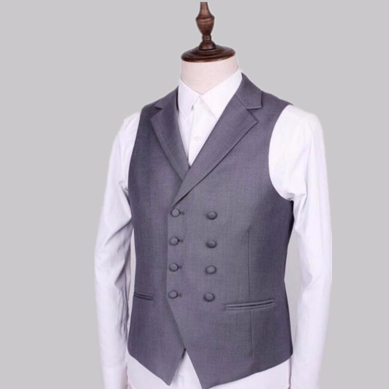 13.1Double-breasted grey men suit vest style lapel pure color chic dress formal dinners wedding the groom suit waistcoat