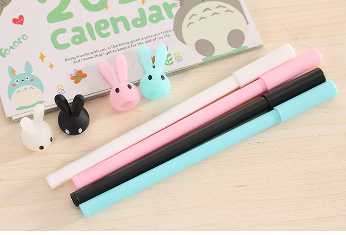 2 X Cute Kawaii Long Ears Rabbit Cartoon Plastic Gel Pen Creative Pen for Girl Student Gift Stationery Office School Supplies