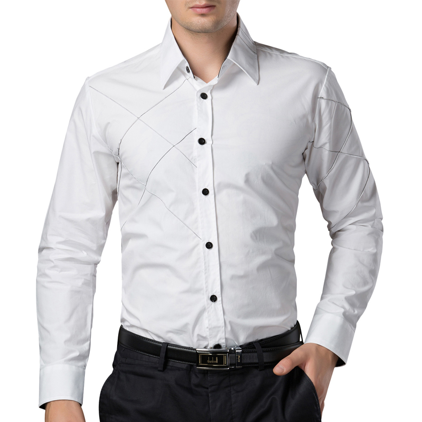 2015 autumn luxury brand white men shirts dress long for How to clean white dress shirts
