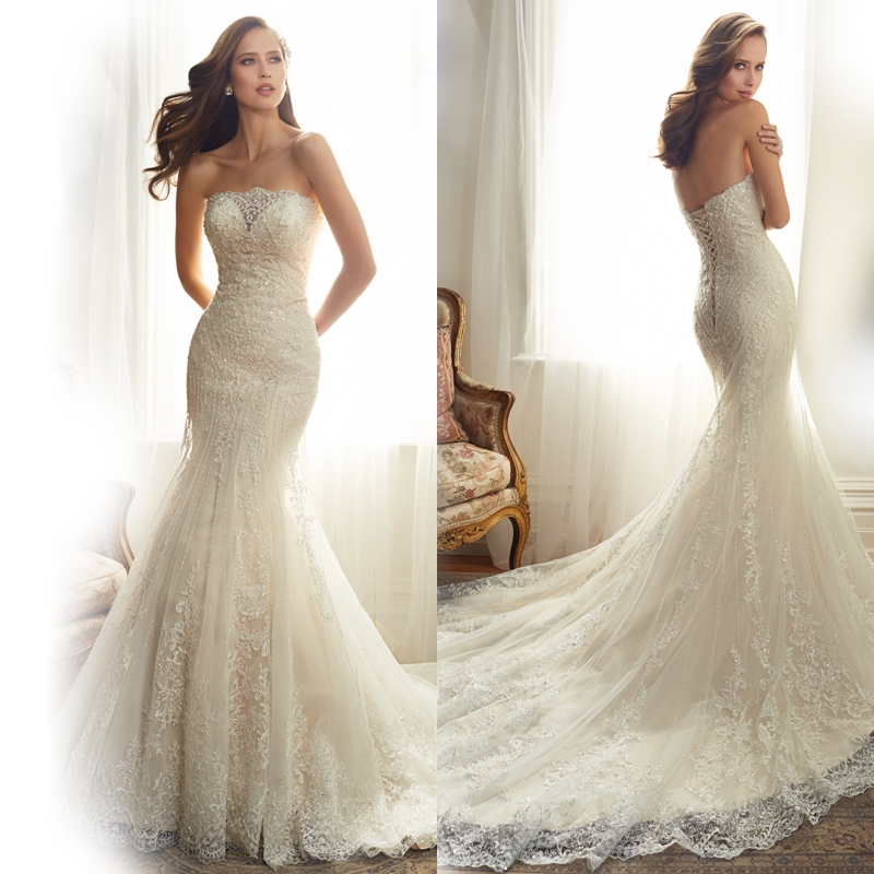 strapless appliques beads lace wedding dresses 2015 plus