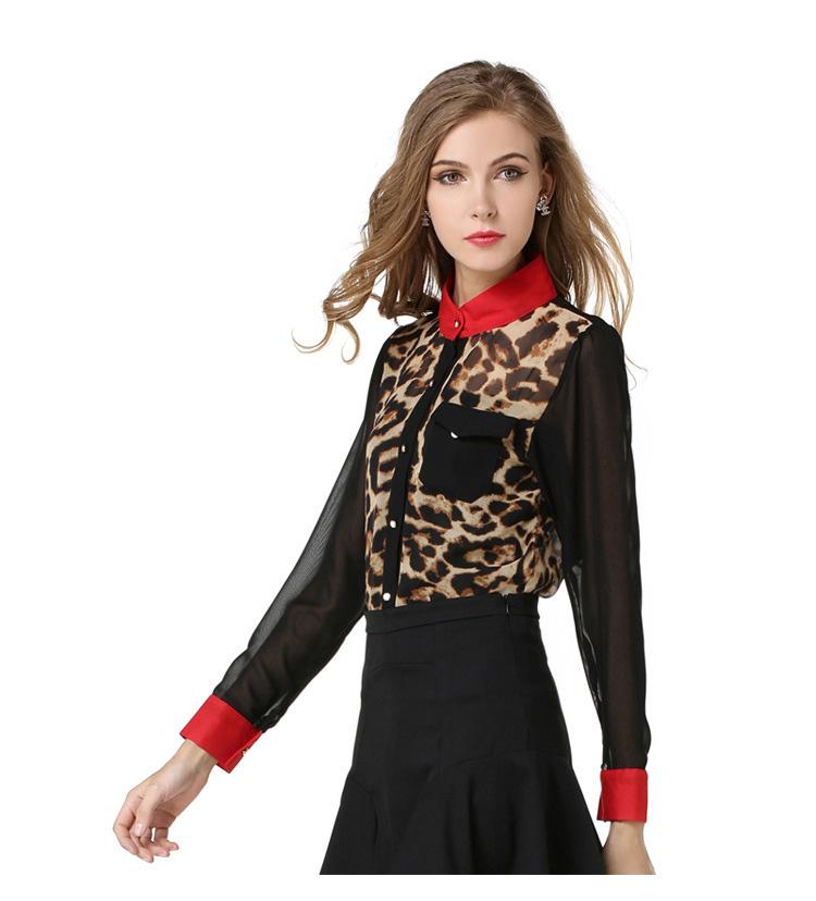 Estilo verano 2016 Nueva Moda Mujer Leopardo Camisa de Leopardo de Manga Larga Blusa de la Gasa MÁS EL TAMAÑO(China (Mainland))