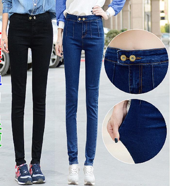 New fashion vintage denim jeans woman pencil casual denim stretch skinny high waist jeans pants women Plus size black and blue(China (Mainland))