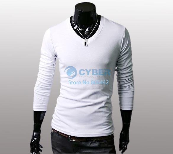 New Slim Fit Cotton Stylish V-Neck Long Sleeve Casual Men's T-Shirt Tops 4 Color 3466