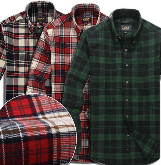 Fashion Autumn Male 100 Cotton Dark Green Plaid Shirt