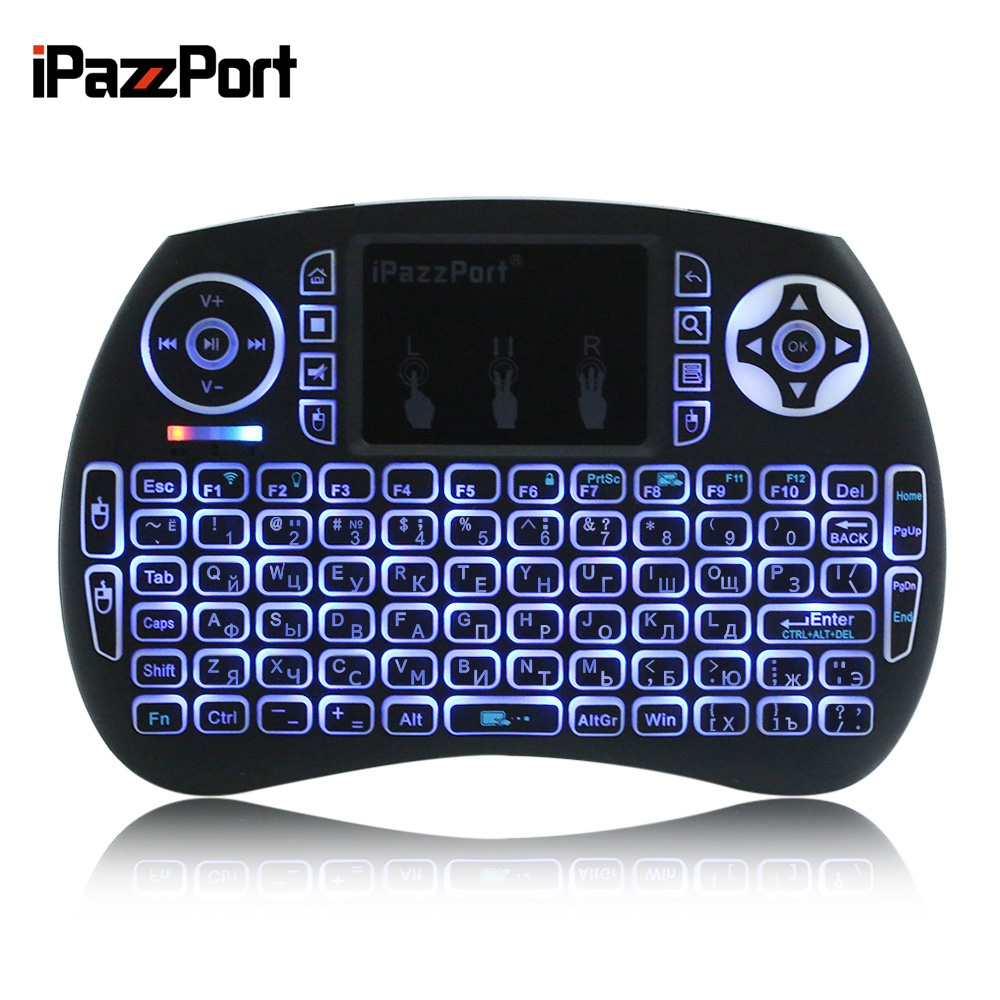 iPazzPort 92 Keys QWERTY 2.4GHz Wireless Mini Backlight Keyboard Air Mouse Touchpad Mice Support Spanish Russia Italian German(China (Mainland))