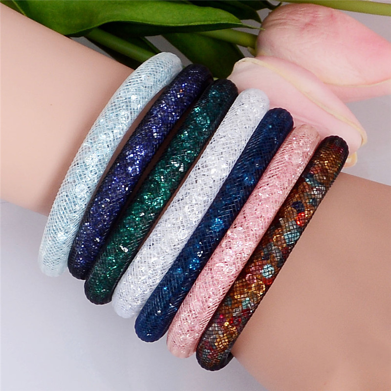 1PC Colorful Stardust Bracelet Magnetic Crystal Cuff Bracelet Wrap Mesh Magnetic Clasp Double Gift(China (Mainland))