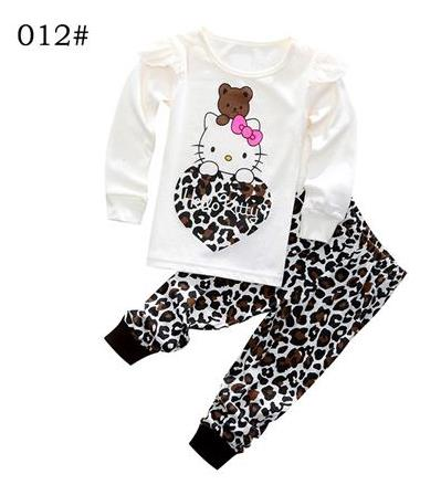 New clothing set toddler baby boy hello kitty clothing sets 2piece outfits cartoon print t-shirt and pants cute boy girls pajama(China (Mainland))