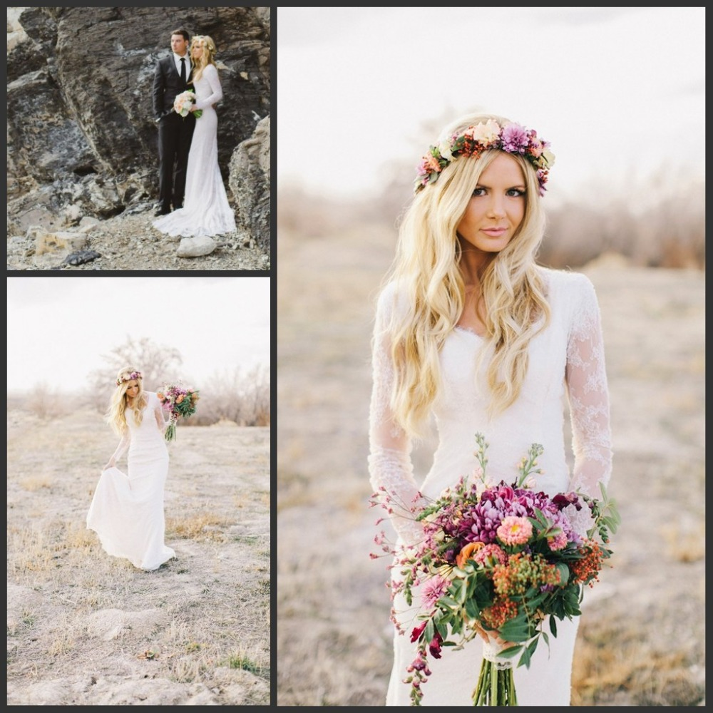 2016 sheath bohemian style lace long sleeves wedding for Beach bohemian wedding dresses