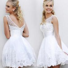 2016 New White Short Wedding Dresses the brides sexy lace wedding dress bridal gown vestido de noiva real sample(China (Mainland))