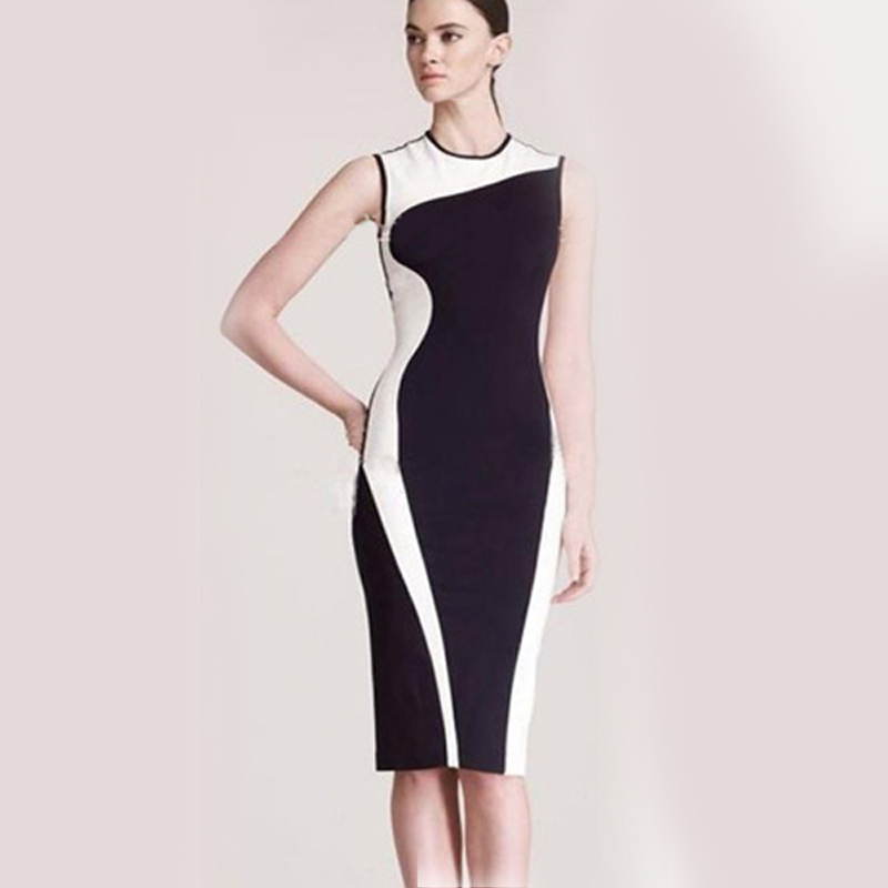 Free Shipping! Hot Sale Star Models Ladies Dress Casual Dress European and American  Spell Color Stitching Pencil Dress(China (Mainland))