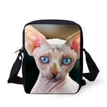 THIKIN забавная кошка Сфинкс напечатанная сумка-мессенджер для девочек Детская легкая школьная сумка для книг детские дорожные мини-сумки на ...(China)